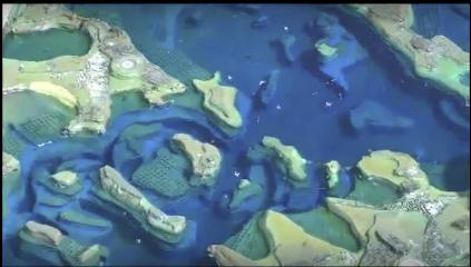 Une maquette du Golfe du Morbihan pour visualiser les marées et les courants.